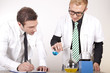 Young male laboratory technicians