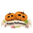 Halloween realistic pumpkins with banner and candy