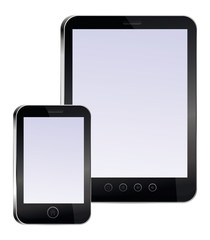 tablet pc and mobile phone with empty screens