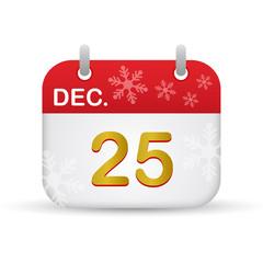 Calendar 25 December Christmas Day