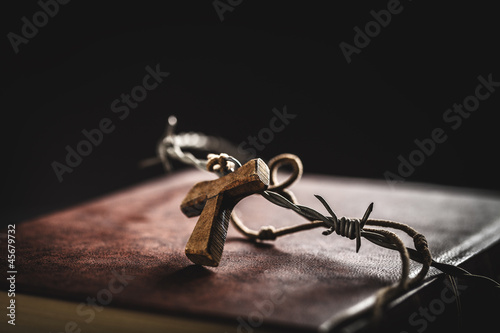 crown of thorns,bible and crucifix