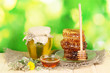 Jar of honey and honeycomb on wooden table on nature background
