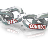 Disconnect Words Broken Chain Links Separation Apart poster