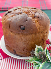 Italian panettone decorated for christmas