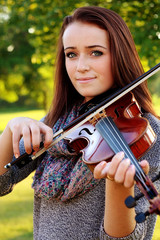 Young lady playing violin