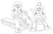 girls on the sled and bobsled-coloring book
