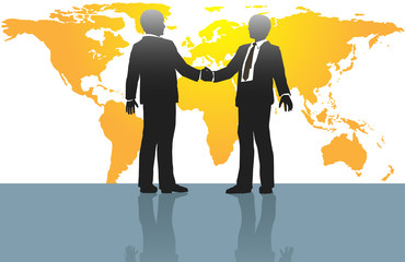 Business men handshake on world map