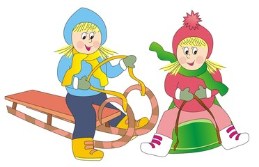 girls on the sled and bobsleigh