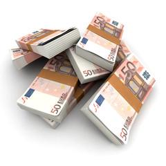 50 Euros stacks