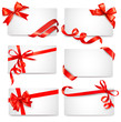 Set Of Card Notes With Red Gif...