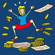argent, or, richesse, monnaie, trésor, personnage, pièces