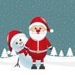 snowman behind santa claus