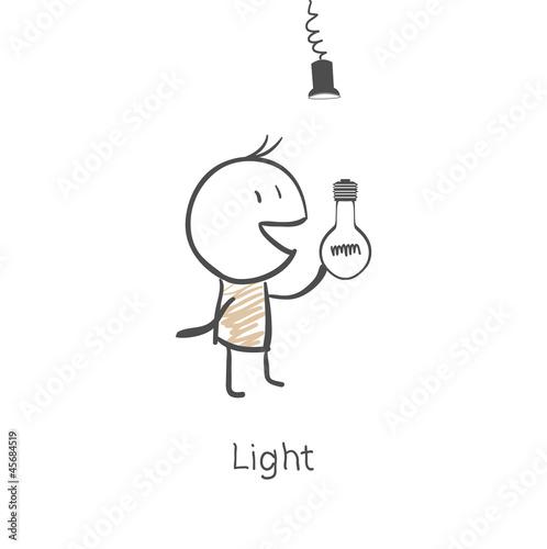 Man screw the light bulb