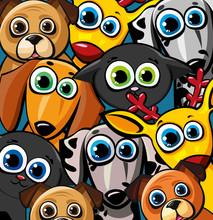 Grupa zabawnych zwierząt - kotów, psów i jelenie