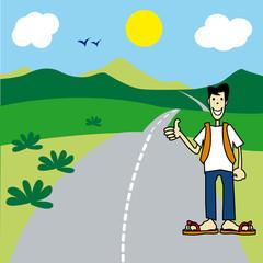 route, paysage, auto stop, personnage, autoroute,