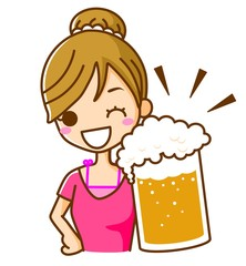 女性 ビール 乾杯