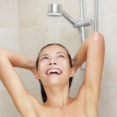 Shower woman happy