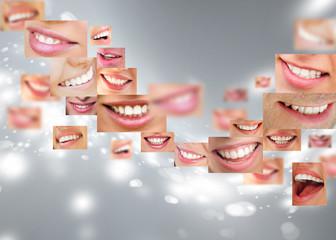 Faces of smiling people in set. Healthy teeth. Smile