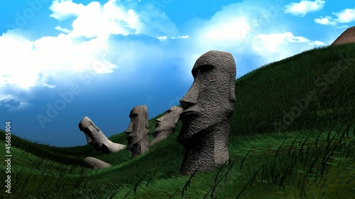 Artist recreation of Easter island statues.