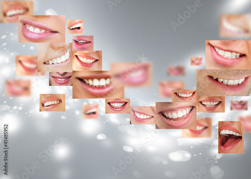 Poster Faces of smiling people in set. Healthy teeth. Smile