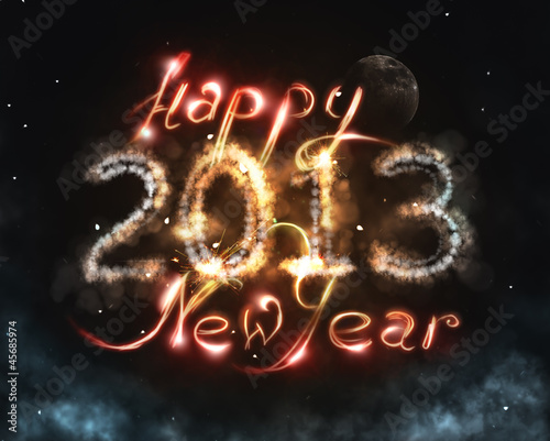 New Year in universe concept with fantasy clouds, stars and moon