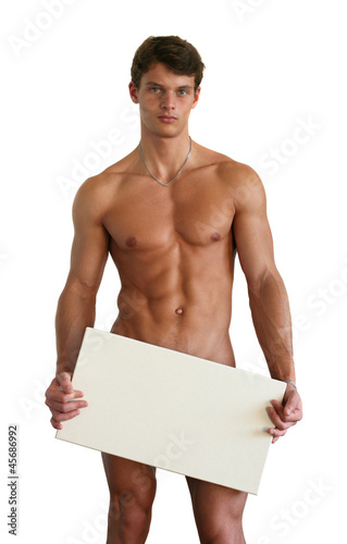 Naked Man Covering with a Blank Sign