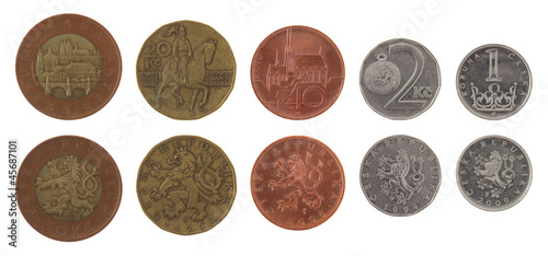 Czech Coins Isolated on White