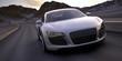 sport car fast run under a desert sunset 3d rendering