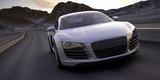 sport car fast run under a desert sunset 3d rendering - 45687381