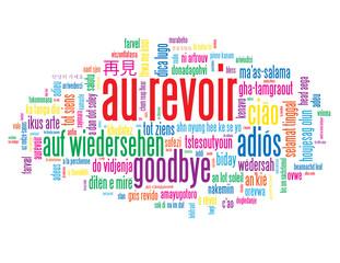 """Nuage de Tags """"AU REVOIR"""" (adieux salut bon voyage bonne chance)"""