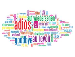 """Nube de Palabras """"ADIÓS"""" (hasta mañana luego saludos mensaje)"""