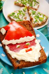 sandwich with santa for christmas breakfast