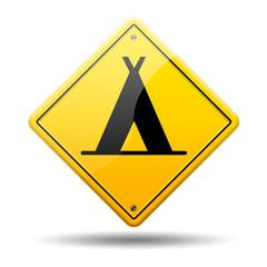 Señal amarilla simbolo camping