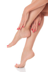 Beautiful female crossed legs and hands