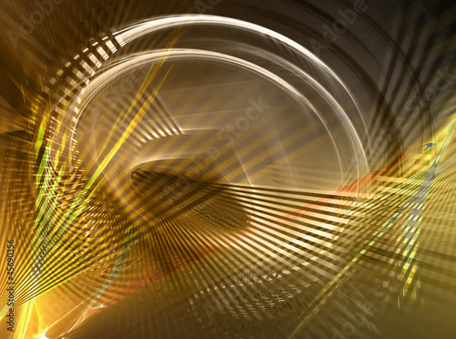 Abstract gold fractal circle on black background