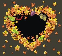 Vector thanksgiving frame in the shape of heart
