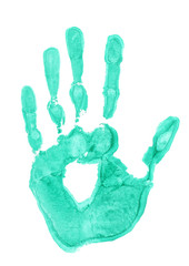 bright green handprint on white background close-up
