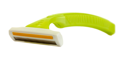 woman safety shaver isolated on white.
