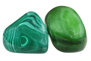 Mineral malachite and nephrite