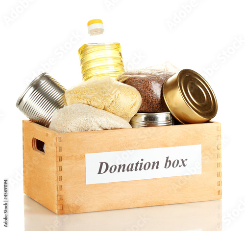 Donation box with food isolated on white