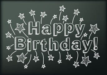Blackboard with Happy Birthday. Vector illustration.