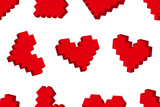 Pixel hearts seamless background pattern. Vector illustration.