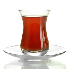 glass of Turkish tea, isolated on white