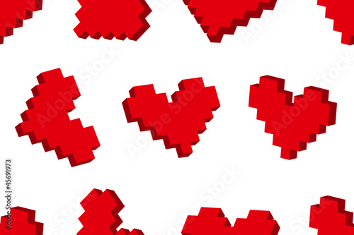 Foto op Canvas Pixel Pixel hearts seamless background pattern. Vector illustration.