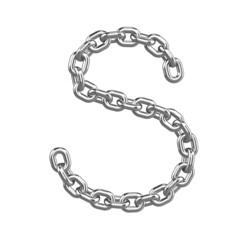 3d Chain Alphabet Font - S