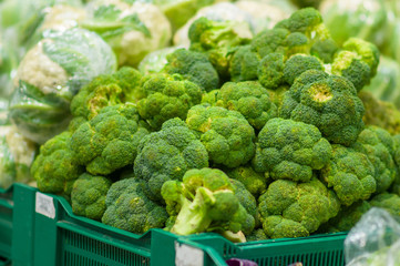Broccoli cabage in boxes in supermarket