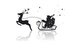 Weihnachtsmann mit Rentier im Schlitten
