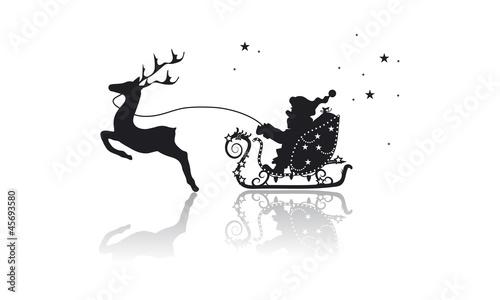 Fototapeta Weihnachtsmann mit Rentier im Schlitten