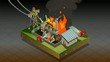 isometric disaster of coal plant fire