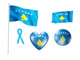 The Kosovo flag - set of icons and flags poster